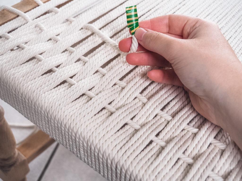 tissage avec corde coton